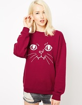 Illustrated People Cat Face Classic Sweat Top