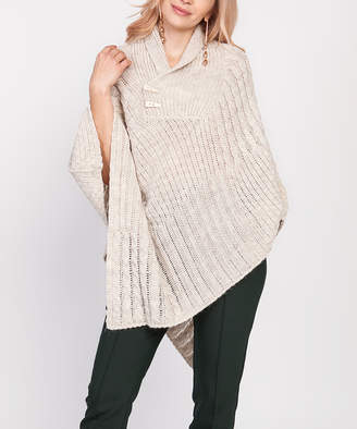 BEIGE Mkm MKM Women's Outerwear Capes  Cable-Knit Toggle-Accent Collar Poncho - Women