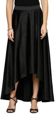 Alex Evenings High-Low Tulip Satin Maxi Skirt