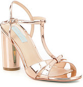Betsey Johnson Blue by Luisa Metallic Foil T-Strap Block Heel Dress Sandals