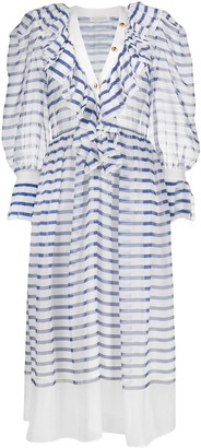 Philosophy di Lorenzo Serafini Ruffle-Trimmed Striped Organza Dress
