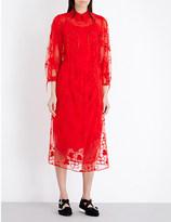 Simone Rocha Spooky Flower-embroidered tulle midi dress
