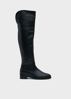 Kim Matin Women's Over The Knee Riding Boot in Black, Size 6 | Leather