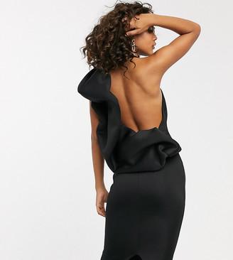 Asos Tall DESIGN Tall extreme puff open back midi dress-Black