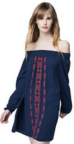 Aeropostale Womens Cape Juby Embroidered Off The Shoulder Dress Blue
