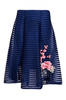 Quiz Navy And Pink Mesh Ribbed Embroidered Midi Skirt