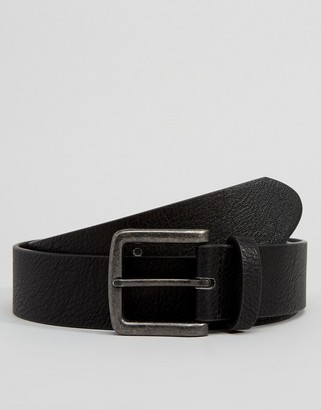 ASOS DESIGN wide belt in black faux leather with gunmetal buckle
