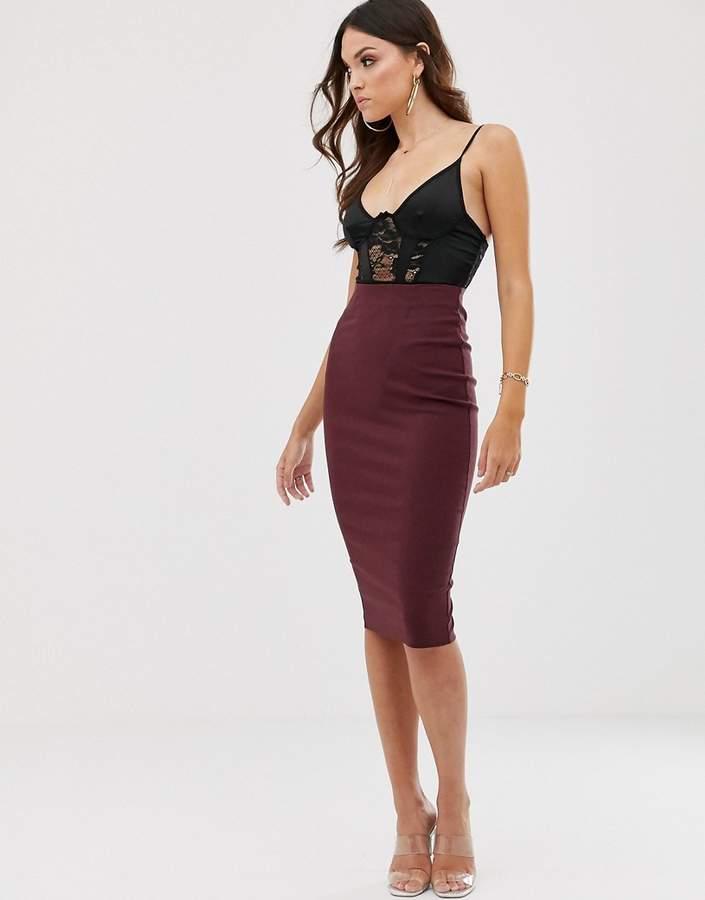 Image result for ASOS DESIGN high waist longerline pencil skirt