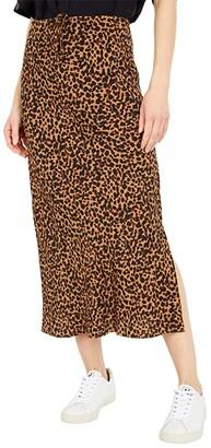 Madewell Drawstring Midi Slip Skirt in Brushed Leopard (Brushed Leopard Warm) Women's Skirt