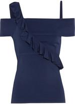 Jason Wu Asymmteric Ruffled Stretch-knit Top - Midnight blue