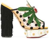Charlotte Olympia Not-So-Secret-Garden mules - women - Cotton/Leather/Suede/metal - 36