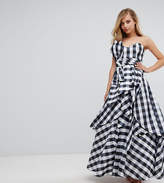 Fame & Partners Bardot Maxi Prom Dresswith Tie Bow Front