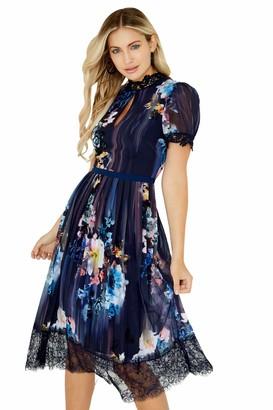 Little Mistress Women's Viola Floral Lace Hem Midi Dress Party