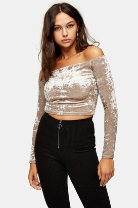 Topshop Womens Mink Crushed Velvet Bardot Top - Mink