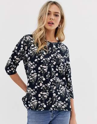 JDY Winner floral print 3/4 sleeve top-Navy