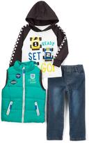 Kids Headquarters Aqua Quilted Zip-Front Vest Set - Infant Toddler & Boys