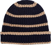 Alex Mill Men's Striped Chunky Rib-Knit Cashmere Beanie-NAVY, TAN