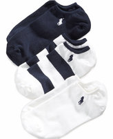 Ralph Lauren Girls' and Little Girls' 3-Pack Striped Rugby No-Show Socks
