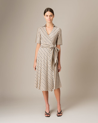 Jigsaw Collared Wrap Stripe Jersey Dress