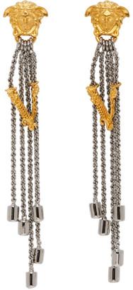 Versace Silver Bi-Color Vitrus Earrings