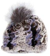 Glamour Puss Glamourpuss Fox Fur-Trimmed Beanie w/ Tags