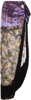 ATTICO Fringed Paneled Silk-Chiffon Maxi Skirt
