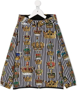 Dolce & Gabbana Kids Striped Crown-Print Hooded Jacket