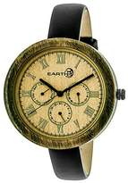 Earth Wood Women's Brush Multi - Function Leather Strap Watch