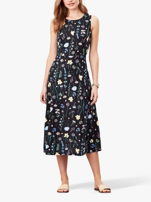 Joules Chrissie Floral Print Sleeveless Midi Dress, Black/Multi