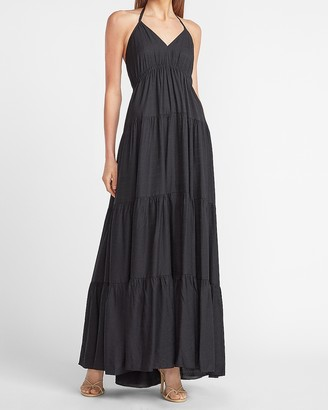 Express Tiered Halter Maxi Dress