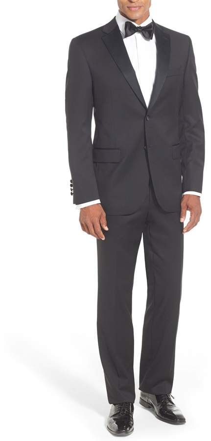 David Donahue Classic Fit Loro Piana Wool Notch Lapel Tuxedo