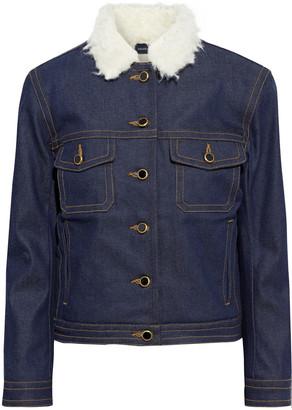 KHAITE Laura Faux Shearling-trimmed Denim Jacket