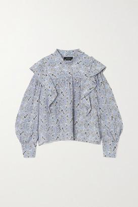 Isabel Marant Barida Ruffled Paisley-print Silk Crepe De Chine Blouse - Light blue