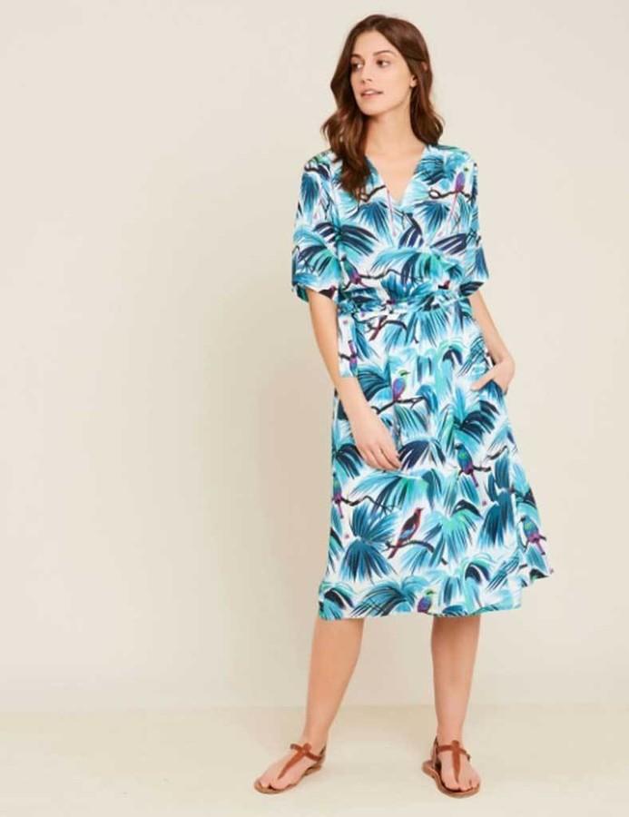 Hartford Blue Reva Bird Wrap Dress - S - Blue