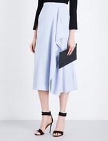Roland Mouret Upton ruffled textured-crepe midi skirt
