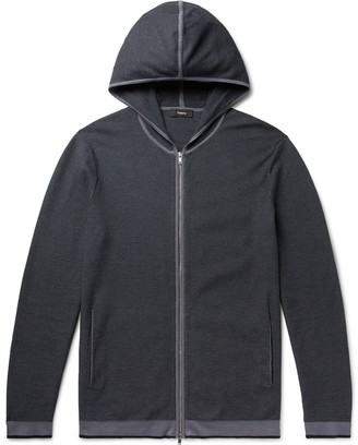 Theory Braghe Textured Cotton-Blend Zip-Up Hoodie - Men - Blue