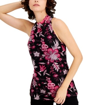 INC International Concepts Inc Mock-Neck Printed Halter Top, Created for Macy's
