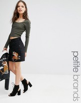 Glamorous Petite Denim Skirt With Tiger Embroidery