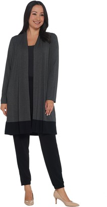 Dennis Basso Colorblocked Soft Touch Long-Sleeve Duster