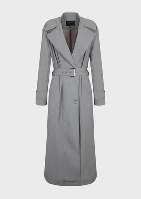 Emporio Armani Nylon Crinkled Trench Coat