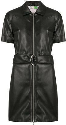 Urban Code Belted Faux-Leather Dress