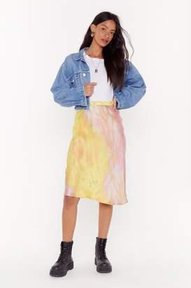 Nasty Gal Womens Apple of My Dye Satin Midi Skirt - yellow - S