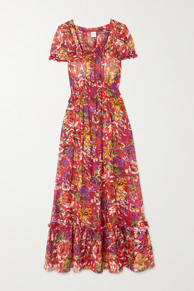 Loretta Caponi - Stefania Ruffled Tiered Floral-print Cotton-voile Dress