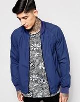 Scotch & Soda Bomber Jacket In Garment Dyed Cotton Cobalt