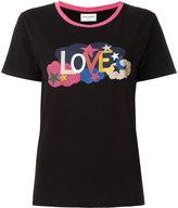 Saint Laurent Love print ringer T-shirt - women - Cotton - XS