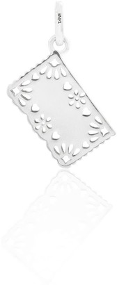 Tane Exquisitely Detailed Papel Picado Decorative Perforated Paper Charm Handmade In Sterling Silver