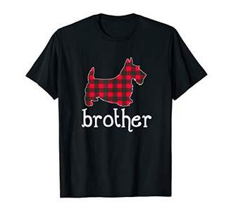 Red Plaid Brother Scottie Christmas Matching Family Pajama T-Shirt