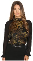 Versace Long Sleeve Printed Top Women's Clothing