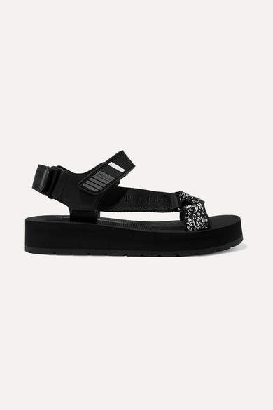 Prada Logo-embossed Rubber-trimmed Leather And Canvas Sandals - Black