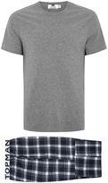 Topman Navy and White Checked Pyjama Set
